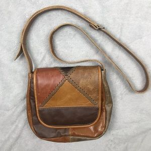 Vintage Patchwork Leather Crossbody Purse